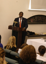 Newton Mayor Speaks at Domestic Violence Awareness Event on Campus