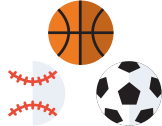 Image of a baseball, basketball, and soccer ball